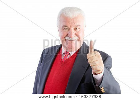 Cheeky Senior Gives A Thumbs Up And Smiles