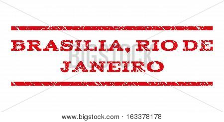 Brasilia, Rio De Janeiro watermark stamp. Text tag between horizontal parallel lines with grunge design style. Rubber seal stamp with scratched texture.