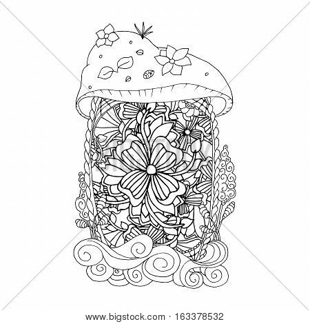 Adult coloring book page. Mono color black ink illustration, vector art. Fairy house with ornament. Vector illustration