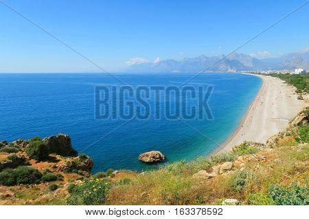 Konyaalti Beach, the Taurus Mountains and Cliffs in Antalya, Turkey