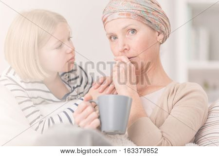 Worried Cancer Woman And Child