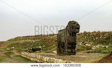 Basalt lion statue Ruins of Ain Dara temple near Aleppo Syria