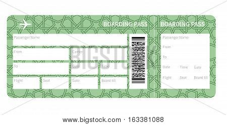 Airplane ticket blank. Green boarding pass isolated on white background. Vector illustration
