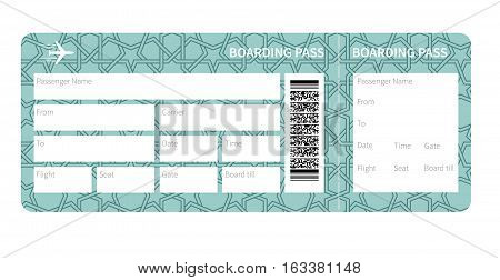 Airplane ticket blank. Blue boarding pass isolated on white background. Vector illustration