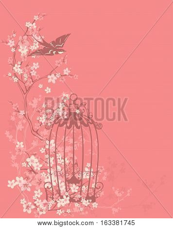 bird cage and swallow among flowers and tree branches - spring season floral vector design