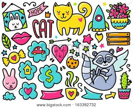 Doodles cute elements. Color vector items. Illustration with hearts and flowers, animals and coffee, clouds and stars. Design for prints and cards.