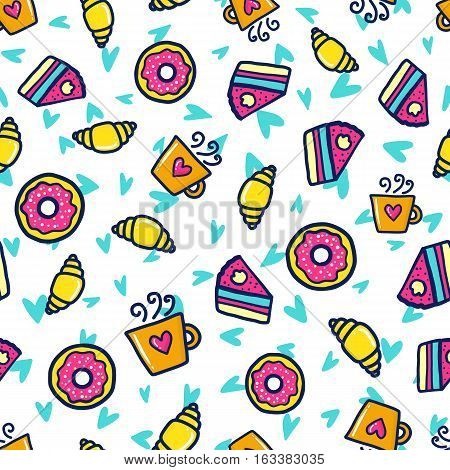 Doodles cute seamless pattern. Color vector background. Illustration with coffee, muffins and donuts. Design for T-shirt, textile and prints.