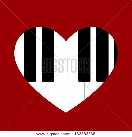 Heart love music piano playing a song for valentine day isolated on white background. Vector illustration