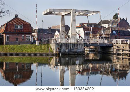 Rozenbrug drawbridge in Woerden in the Netherlands
