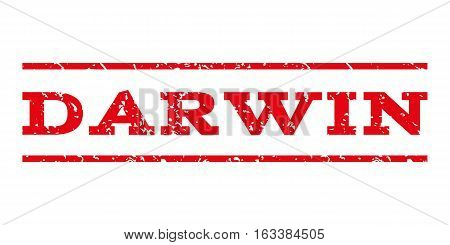 Darwin watermark stamp. Text caption between horizontal parallel lines with grunge design style. Rubber seal stamp with dust texture. Vector intensive red color ink imprint on a white background.