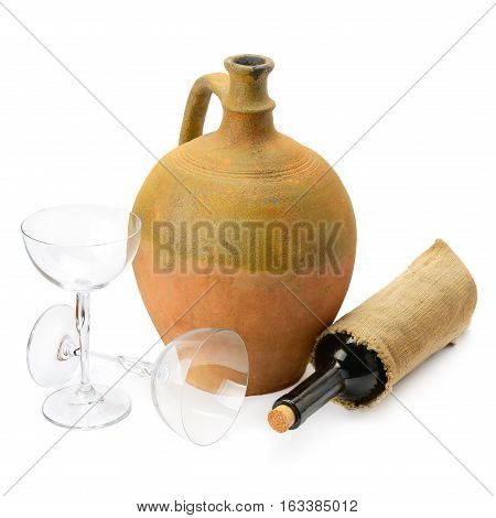 wineglasses a wine bottle and amphora isolated on white background