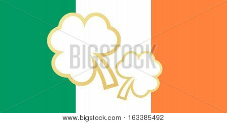 Ireland saint patrick flag of celebration day. Vector illustration