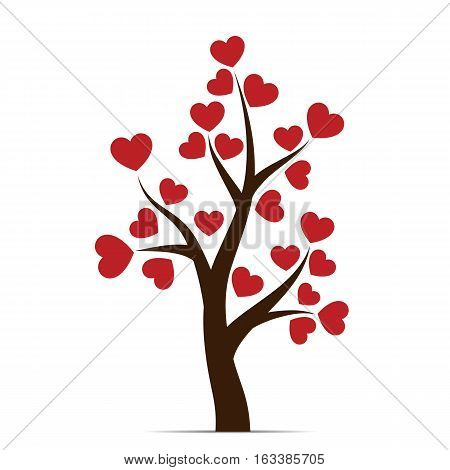 Love tree with heart leaves isolated on white background. Vector illustration