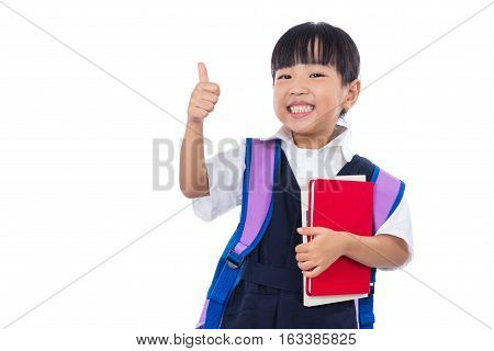 Asian Chinese Little Primary School Girl Showing Thumbs Up