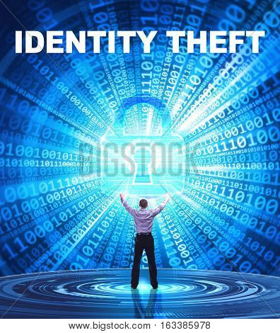 Technology, Internet, Business And Network Concept. Young Business Man Provides Cyber Security: Iden