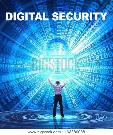 Technology, Internet, Business And Network Concept. Young Business Man Provides Cyber Security: Digi
