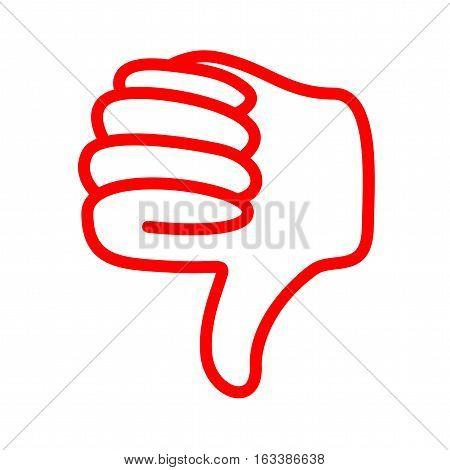 a red line thumbs down icon image