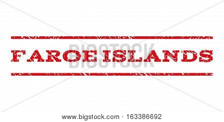 Faroe Islands watermark stamp. Text caption between horizontal parallel lines with grunge design style. Rubber seal stamp with dust texture.