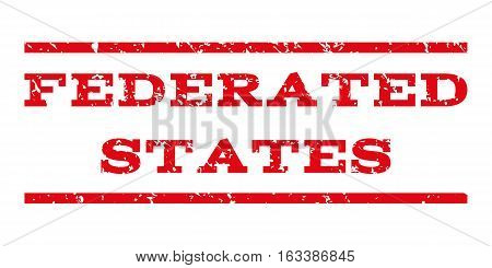 Federated States watermark stamp. Text caption between horizontal parallel lines with grunge design style. Rubber seal stamp with scratched texture.