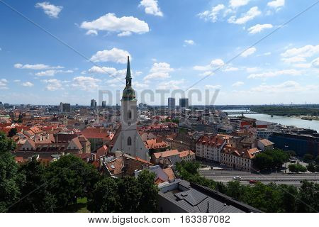 View on Bratislava city with St. Martin's Cathedral and Danube river, in Slovakias Capital Bratislava