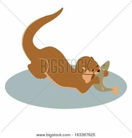 otter vector illustration style Flat profile side