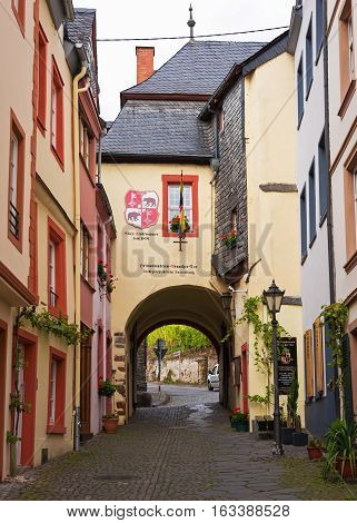The street of the medieval town of Bernkastel-Kues situated on the  Moselle river, Germany