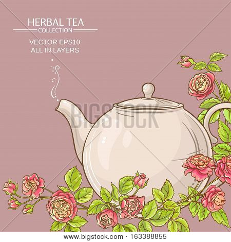 rose tea in teapot on color background