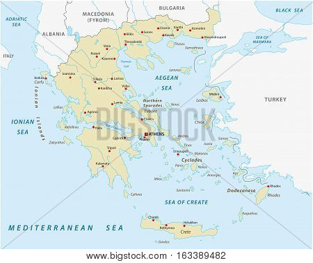 The Hellenic Republic, greece abstract vector map