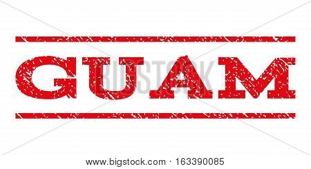 Guam watermark stamp. Text caption between horizontal parallel lines with grunge design style. Rubber seal stamp with dirty texture. Vector intensive red color ink imprint on a white background.