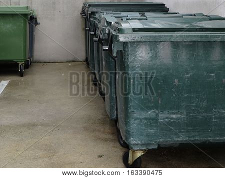 Clean And Organized Storage Of Dustbins For Ecology And Hygiene