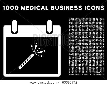 White Sparkler Firecracker Calendar Day vector icon with 1000 medical business pictograms. Set style is flat symbols, white color, black background.