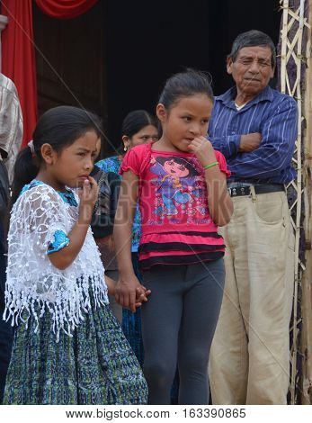 SANTA CRUZ GUATEMALA MAY 03 2016: Portrait of a Mayan children. The Mayan people still make up a majority of the population in Guatemala.