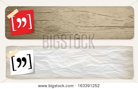 Two vector banners and quotation mark symbol
