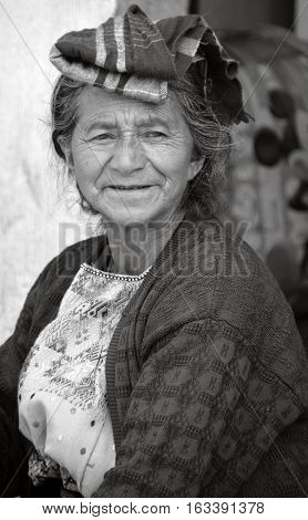 CHICHICASTENANGO GUSTEMALA APRIL 29 2016: Portrait of a Mayan woman. The Mayan people still make up a majority of the population in Guatemala,