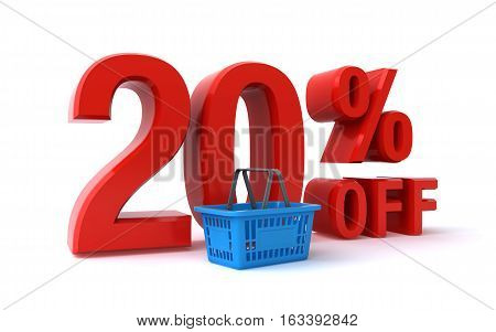 20 percent discount sign and a shopping basket