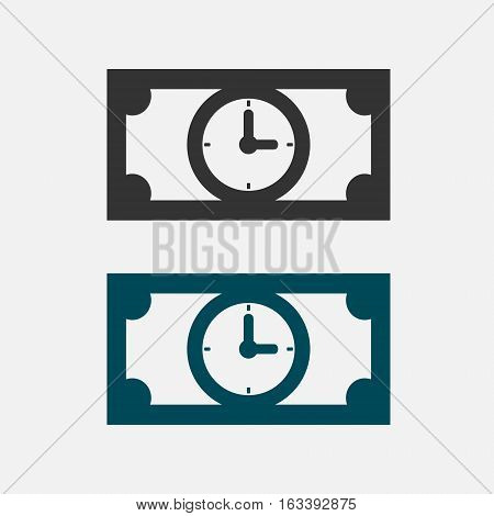 Time is money business concept. Paper denomination icons with clock. Vector isolated illustration.