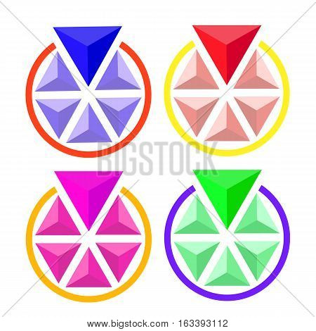 Vector illustration. Abstract object. Circle volume of triangles one of which is more than any other. Different colors.