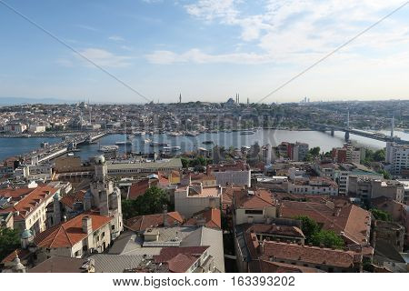Bridge over the Golden Horn - Bosporus - in Istanbul, Turkey.