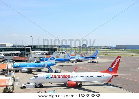 Amsterdam The Netherlands - May 13th 2016: PH-CDH Corendon Dutch Airlines pushed back from the gate departing to Ohrid Macedonia