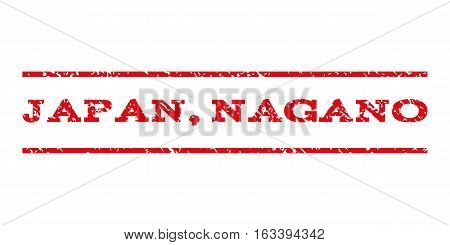 Japan, Nagano watermark stamp. Text caption between horizontal parallel lines with grunge design style. Rubber seal stamp with dirty texture.