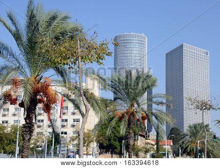 TEL AVIV ISRAEL 04 11 16: Azrieli Center is a complex of skyscrapers. The center was originally designed by Israeli-American architect Eli Attia and after developer of the center David Azrieli