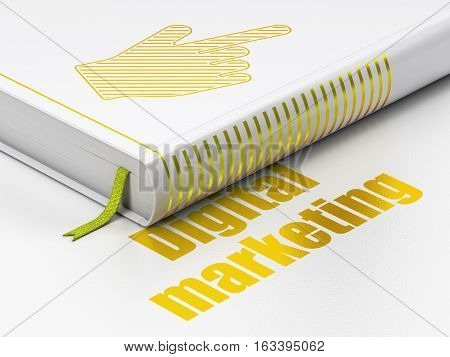 Marketing concept: closed book with Gold Mouse Cursor icon and text Digital Marketing on floor, white background, 3D rendering