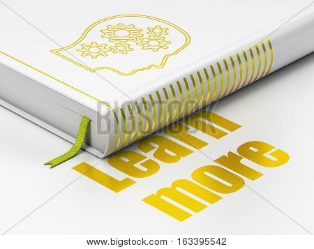 Learning concept: closed book with Gold Head With Gears icon and text Learn More on floor, white background, 3D rendering