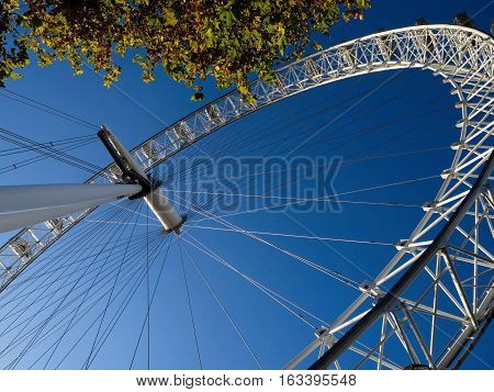 LONDON - December 4: A view of the London Eye in London on December 4 2016