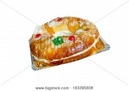 Rosca De Reyes Stuffed With Cream Isolated