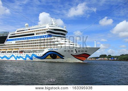 Velsen the Netherlands -June 22nd 2014: Aida Stella on North Sea Canal on it's way to the Amsterdam Cruise Terminal