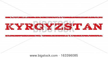 Kyrgyzstan watermark stamp. Text caption between horizontal parallel lines with grunge design style. Rubber seal stamp with dust texture. Vector intensive red color ink imprint on a white background.
