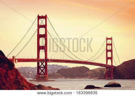 Golden gate bridge san francisco landmark ocean sunset photo stock
