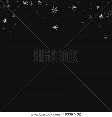 Sparse Snowfall. Abstract Top Border On Black Background. Vector Illustration.