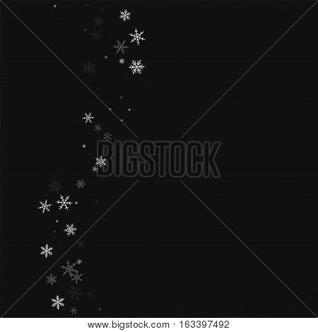 Sparse Snowfall. Left Wave On Black Background. Vector Illustration.
